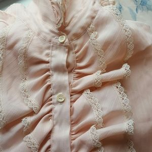 Vintage Tops - High Collar Ruffle Front Blouse Blush Pink S